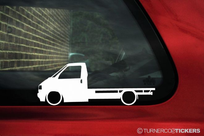 2x Low car outline stickers - for Volkswagen T4 transporter flatbed vw pickup